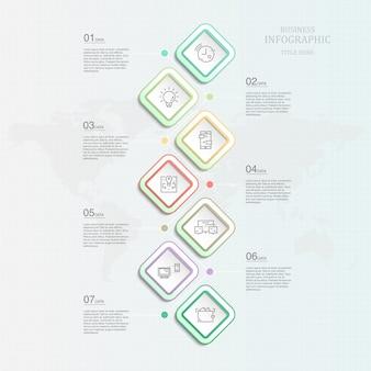 Infographic sjabloon zeven element voor huidige bedrijfsconcept.