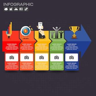 Infographic sjabloonontwerp met pictogrammen en opties.