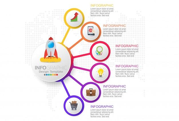 Infographic sjabloonontwerp met zes kleurenopties.