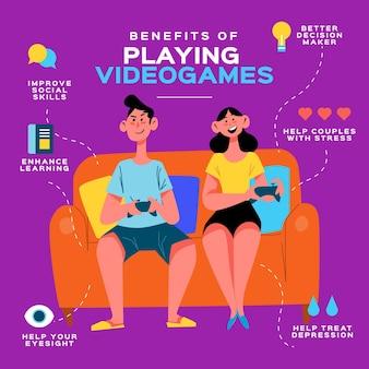Infographic-sjabloonvoordelen van het spelen van videogames