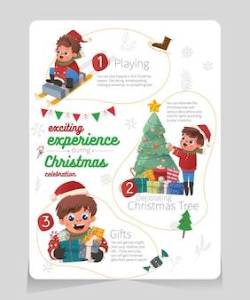Infographic spannende ervaring tijdens kerstviering met schattige jongensillustratie