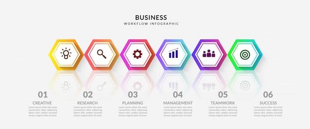 Infographic stap met veelvoudige optiesworkflow