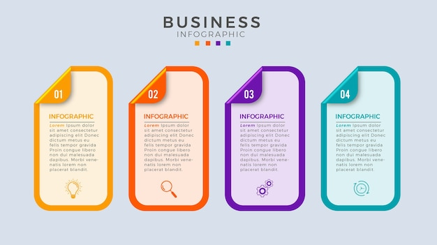 Infographic stappen 4 ontwerp zakelijke sjablonen