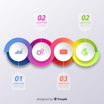 Infographic stappen in verloopstijl