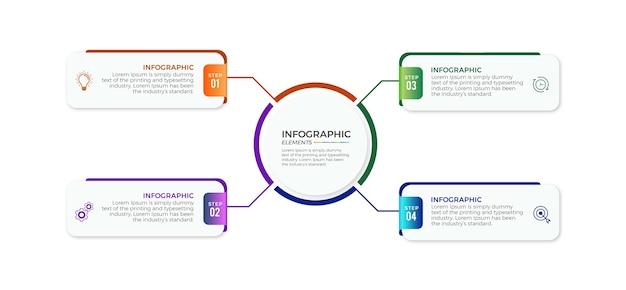 Infographic stappen plat ontwerp premium zakelijke sjablonen