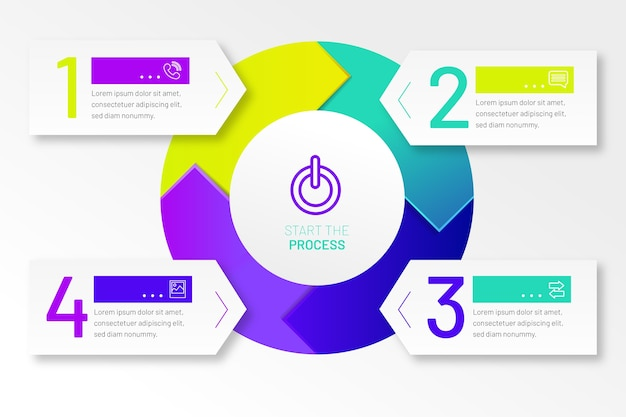 Infographic stappen plat professional