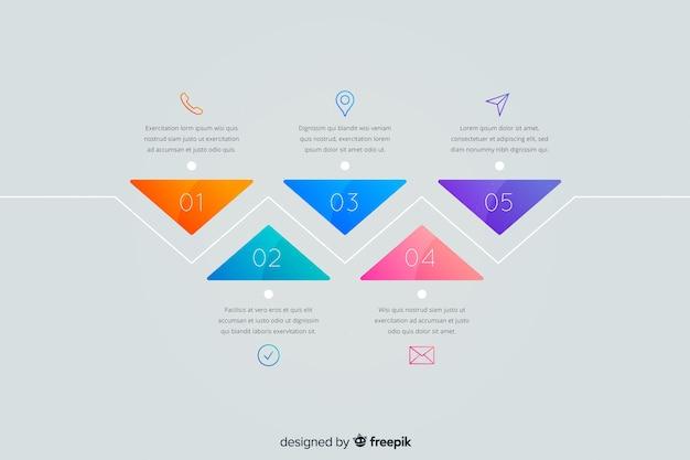 Infographic stappen sjabloon plat ontwerp