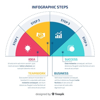 Infographic stappenconcept in vlak ontwerp