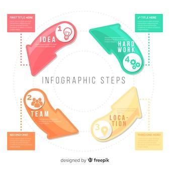 Infographic stappenconcept in vlakke stijl