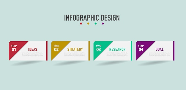 Infographic-stappensjabloon met ontwerpbedrijf kan worden gebruikt voor de werkstroom