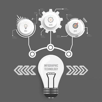 Infographic technologie ontwerpsjabloon cirkels.