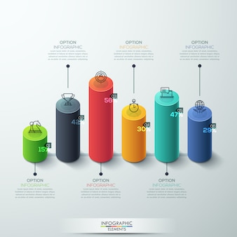 Infographic template modern cilinder staafdiagram ontwerp.