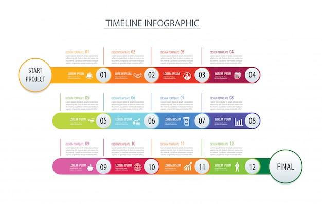 Infographic tijdlijn 1 jaar sjabloon bedrijfsconcept pijlen.