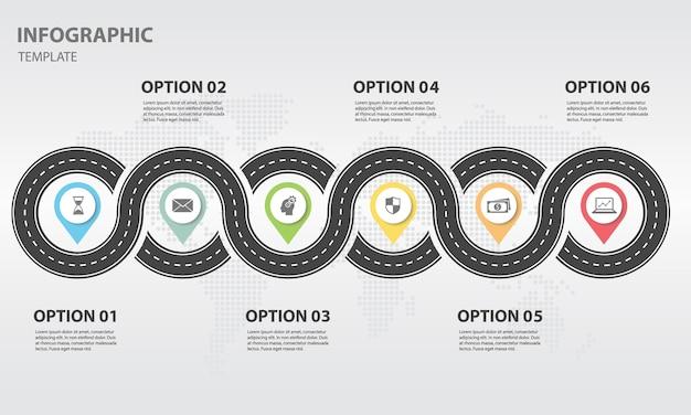 Infographic-tijdlijn met wegontwerp