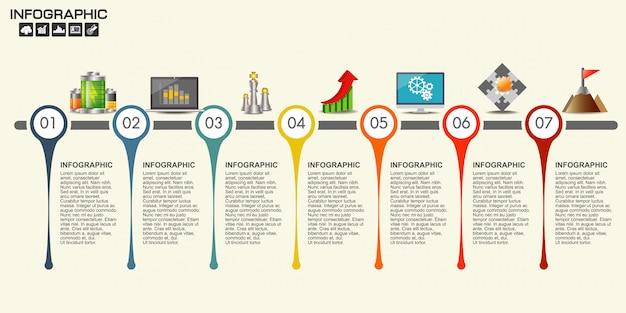 Infographic tijdlijn ontwerpsjabloon