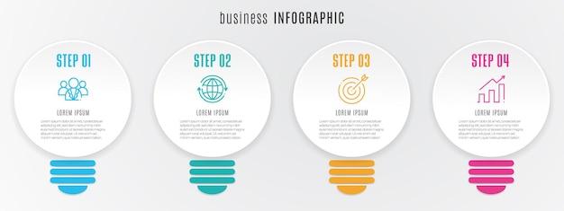 Infographic tijdlijnsjabloon lamp 4 opties