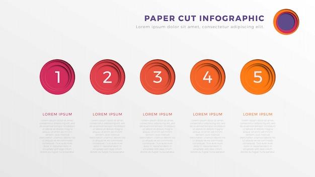 Infographic tijdlijnsjabloon met vijf realistische ronde papier gesneden elementen