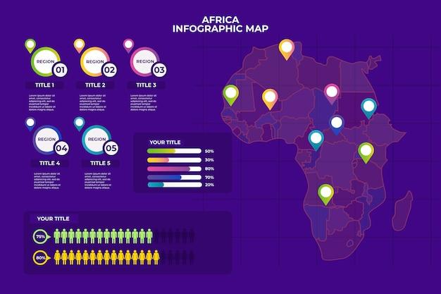Infographic van de kaart van afrika in lineair ontwerp