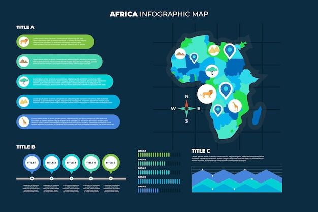 Infographic van de kaart van afrika in plat ontwerp
