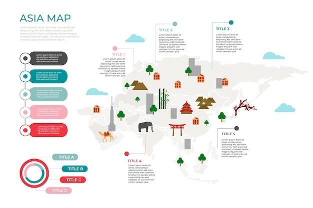 Infographic van de kaart van azië in plat ontwerp