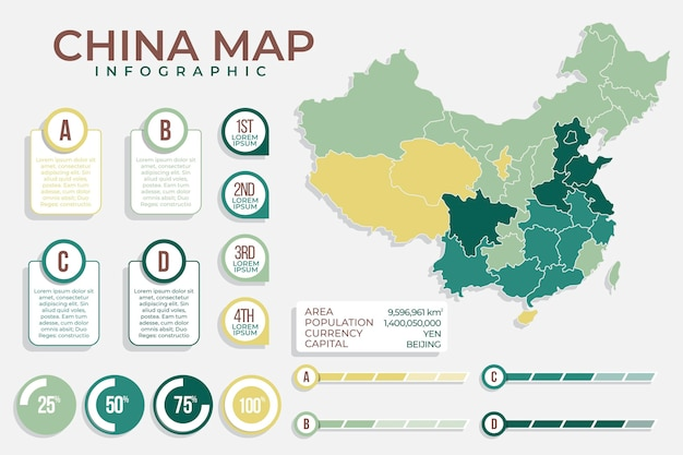 Infographic van de kaart van china in plat ontwerp