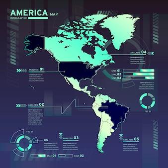 Infographic van de neonkaart van amerika in plat ontwerp