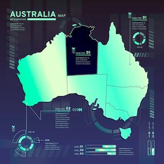 Infographic van de neonkaart van australië in plat ontwerp