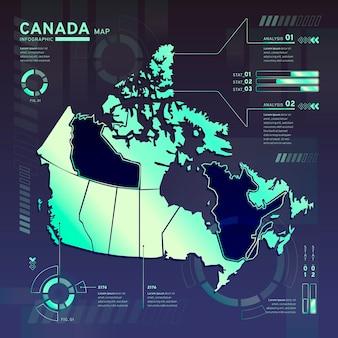Infographic van de neonkaart van canada in plat ontwerp