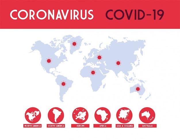 Infographic van de wereldplaneet met de verspreiding van de covid 19 door landen