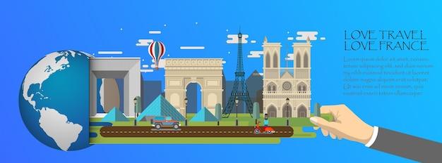 Infographic van frankrijk, globaal met oriëntatiepunten van parijs