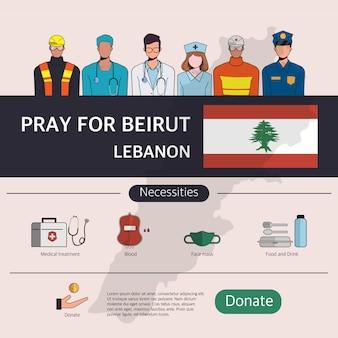 Infographic van het helpcentrum van beiroet. bomaanslag op de ambassade in beiroet, libanon. bid voor beiroet, libanon.