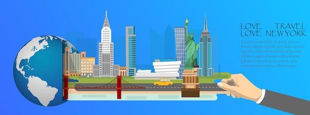 Infographic van new york, globaal met oriëntatiepunten van amerika