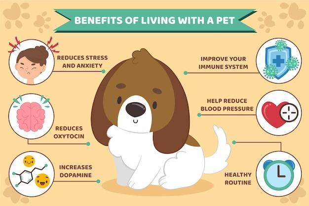 Infographic van voordelen die met huisdier leven