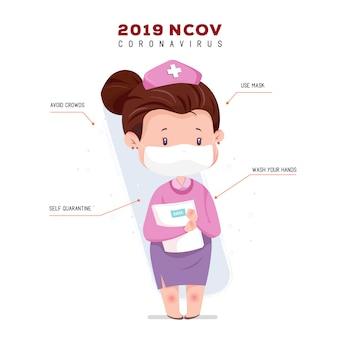 Infographic verpleegster met masker karakter illustratie coronavirus