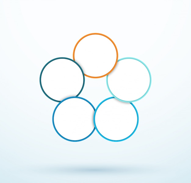 Infographic vijf cirkel diagram gekoppelde segmenten