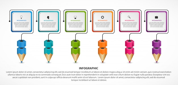 Infographic voor onderwijs met kleurrijke potloden.
