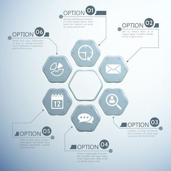 Infographic websjabloon met metalen zeshoeken zes opties en witte pictogrammen