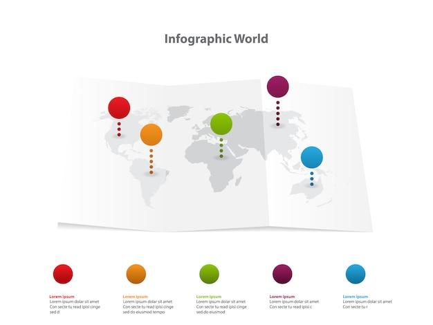 Infographic wereldkaart, vervoer communicatie informatie plan positie