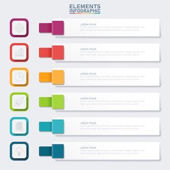 Infographic zakelijke elementen, rechthoek 6 opties.