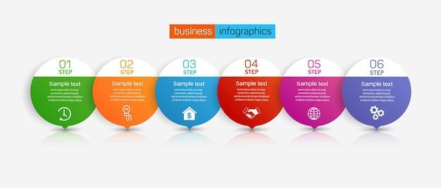 Infographic zakelijke ontwerpsjabloon met 6 stappen