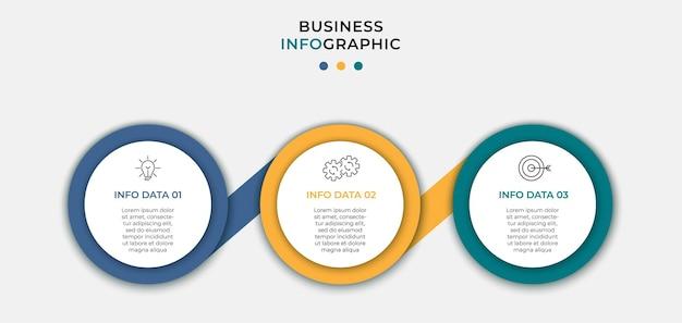 Infographic zakelijke ontwerpsjabloon met pictogrammen en 3 opties of stappen