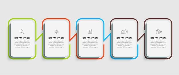 Infographic zakelijke ontwerpsjabloon met pictogrammen en 5 vijf opties of stappen