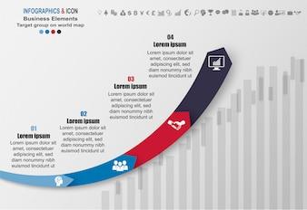Infographic zakelijke tijdlijn proces grafieksjabloon.