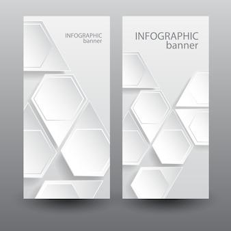 Infographic zakelijke verticale banners met lichte zeshoekige webelementen