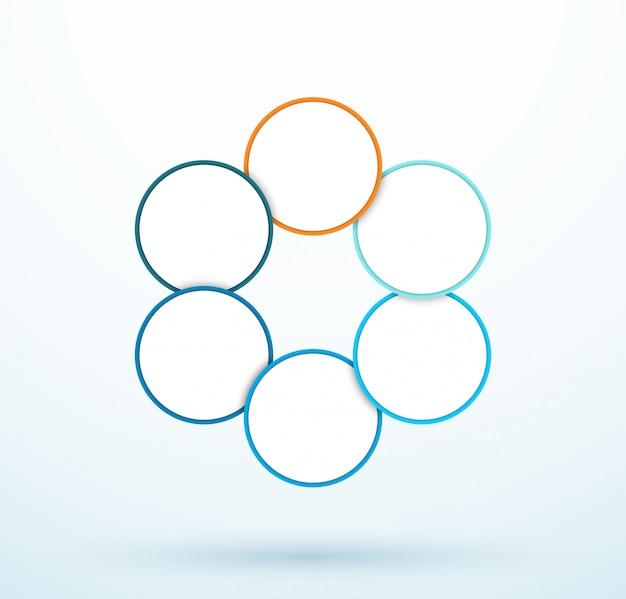 Infographic zes cirkel diagram gekoppelde segmenten