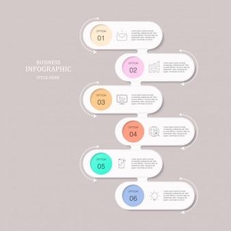 Infographic zes elementen en pictogrammen voor bedrijfsconcept.