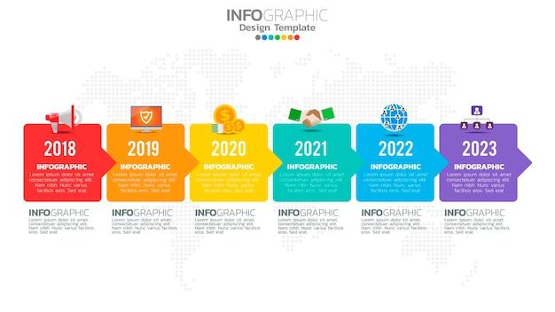 Infographic zes stappen kleurelement met pijl, grafiekdiagram, online marketingconcept.