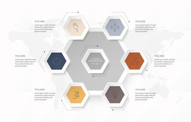 Infographic zeshoek 6 optie of stappen en pictogrammen voor bedrijfsconcept.