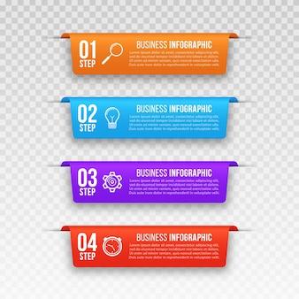 Infographicbanners met vier stappen