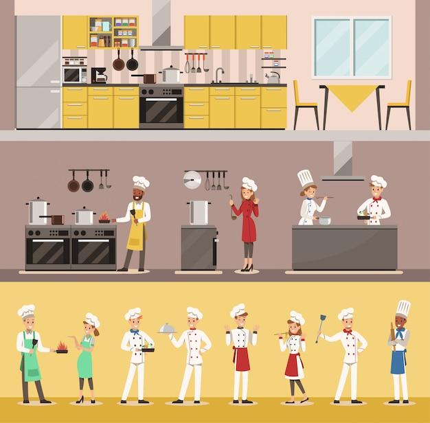 Infographicchef-kok het koken in het ontwerp van het restaurantkarakter